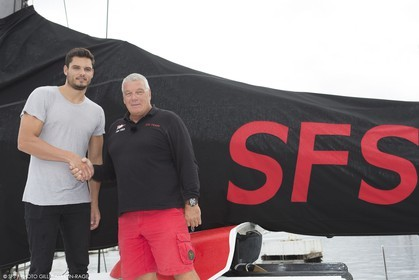 17 09 2015, Marseille (FRA,13) - Maxi VOR  70 SFS II, Christening by swimming champion Florent Manaudou