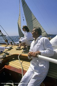 May 1996 - Cannes (FRA, 06) Eric Tabarly helming Tuiga