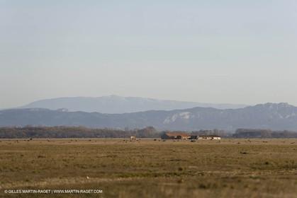 04 03 2007 - Saint Martin de Crau (FRA) - la Crau plain with Alpilles hills and Mont Ventoux in background.