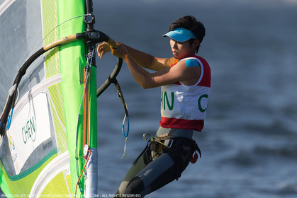 14 08 2016, Rio de Janeiro (BRA), 2016 Olympic Games, Sailing, RSX Women medal race, Peina Chen (CHI), silver medalist