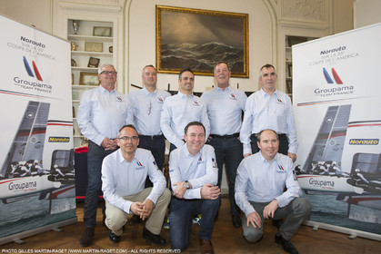 22 02 2016, Paris (FRA), 35th America's Cup, Groupama Team France announces Norauto as official partner at Yacht Club de France, Norauto and Franck Cammas