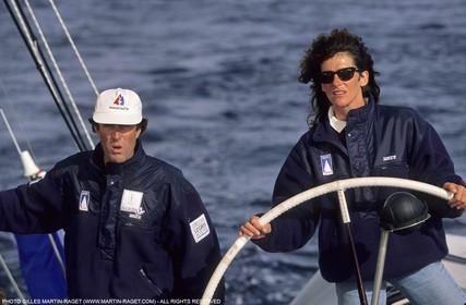 America's Cup - San Diego 1992 - Marc Pajot and Florence Arthaud onboard Villes de Paris
