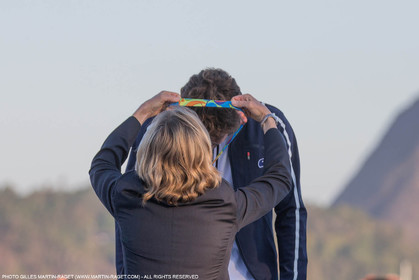 14 08 2016, Rio de Janeiro (BRA), 2016 Olympic Games, Sailing, RSX Men medal ceremony, Pierre Le Coq (FRA) bronze medal
